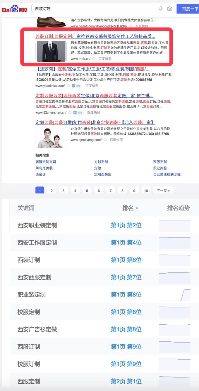 职业装定制 校服定制 西装订制seo优化排名展示